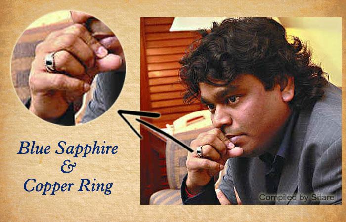A R Rahman Wearing Blue Sapphire Gemstone