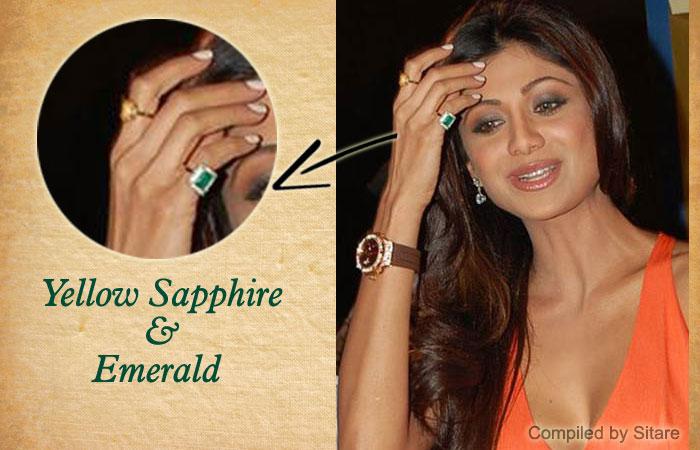 Shilpa Shetty wearing Yellow Sapphire & Emerald Gemstone