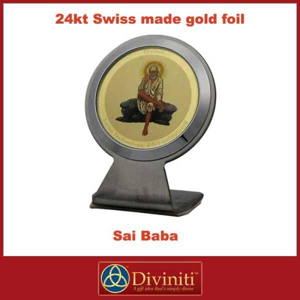 Shirdi Sai Baba Diviniti 24ct Gold Foil Car Frame